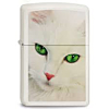 Zippo White Cat Green Eyes