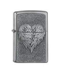 Zippo Heart with Feathers -