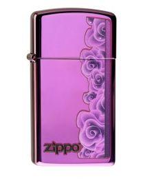 Zippo Slim Purple Roses -